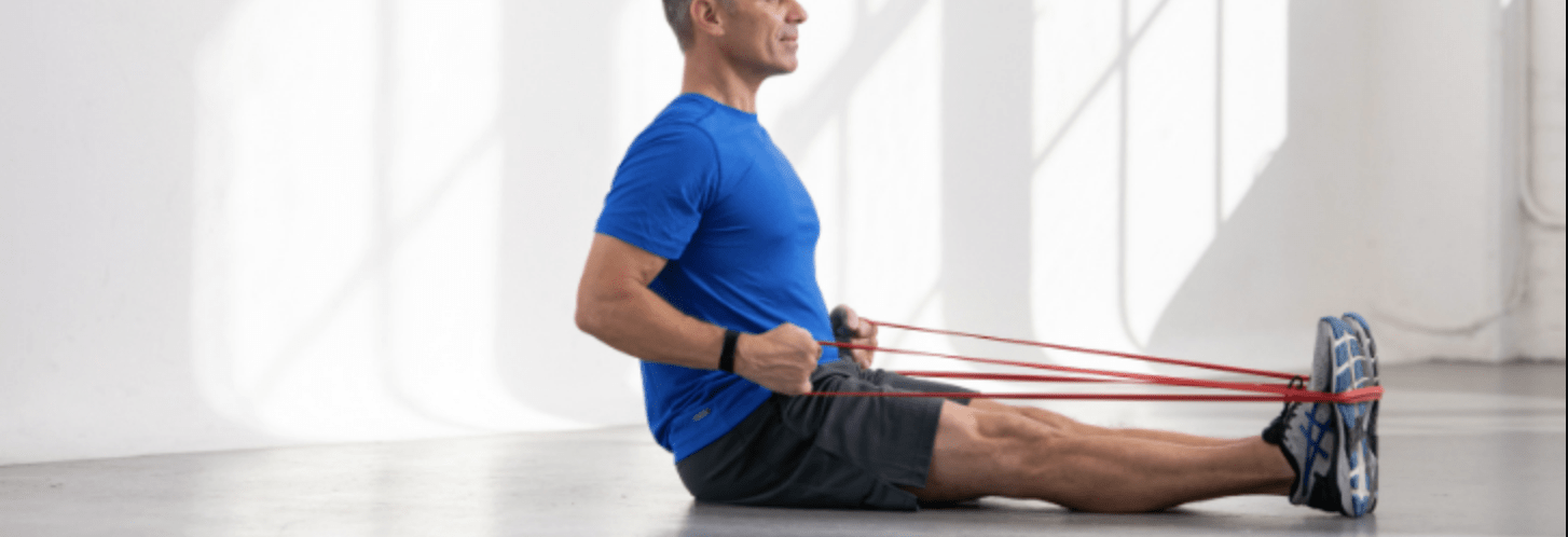 elastic band workout, rowing indoor workout, strength rowing training,