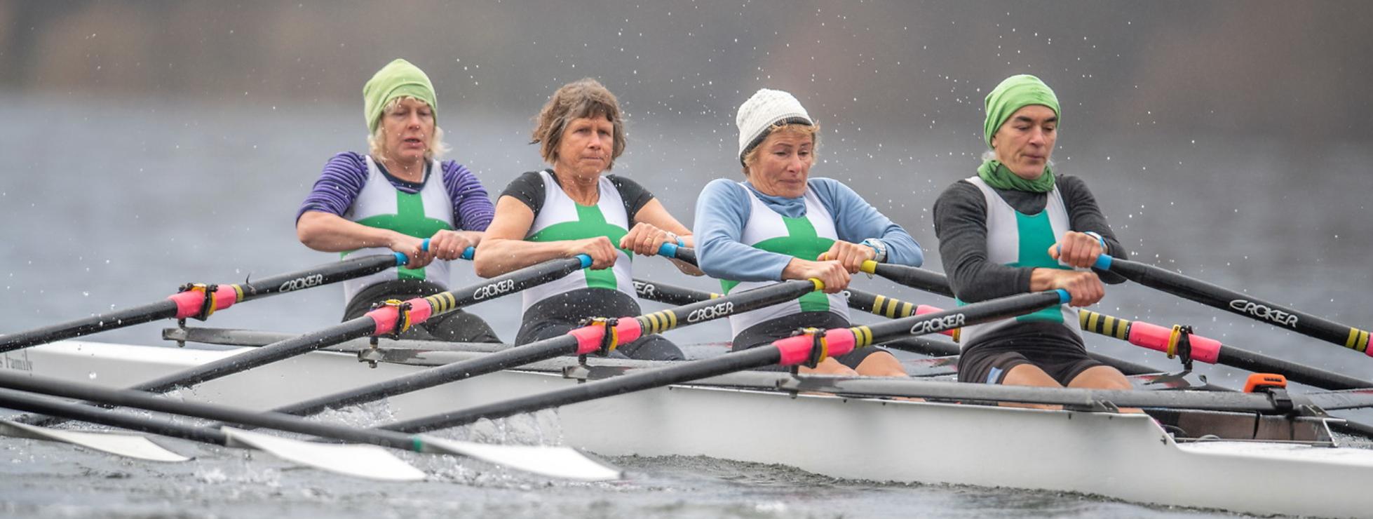 women quad rowing racing start